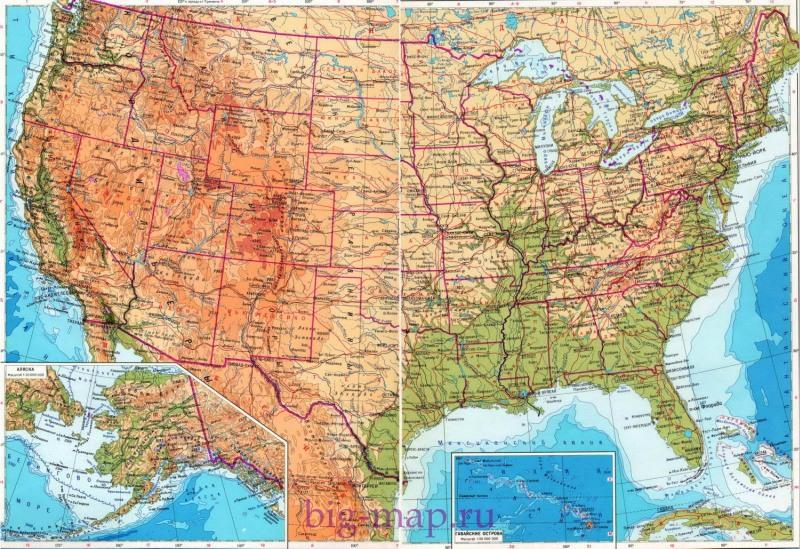 Карта америки карта сша карта