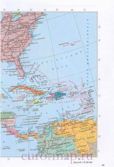 Карта центральной америки на русском