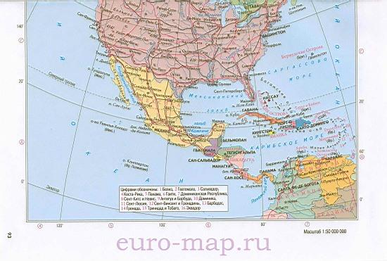 Америки на русском языке карта стран