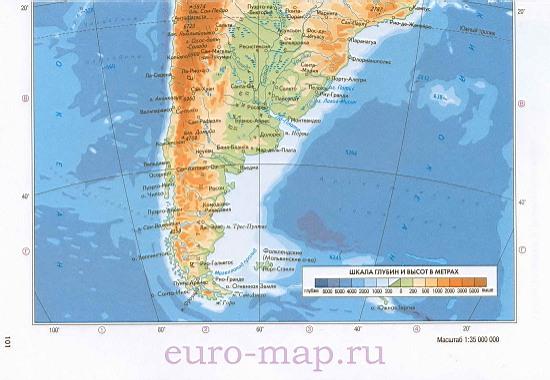 Карта южной америки физическая